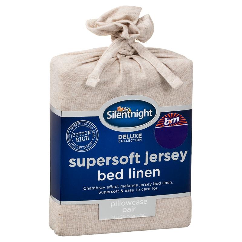 Silentnight Jersey Pillowcase Pair Natural Bedding B Amp M