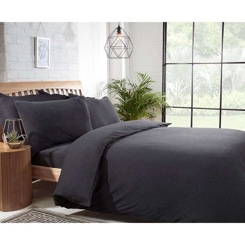 Silentnight Jersey Double Duvet Set Charcoal Bedding B Amp M