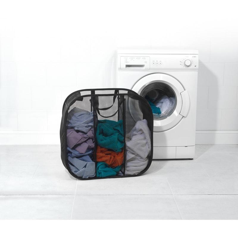 Beldray Pop Up Mesh Triple Sorter Laundry Bag Black B Amp M
