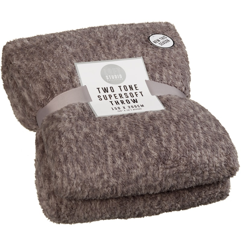 Two Tone Super Soft Throw Charcoal Soft Furnishings B Amp M