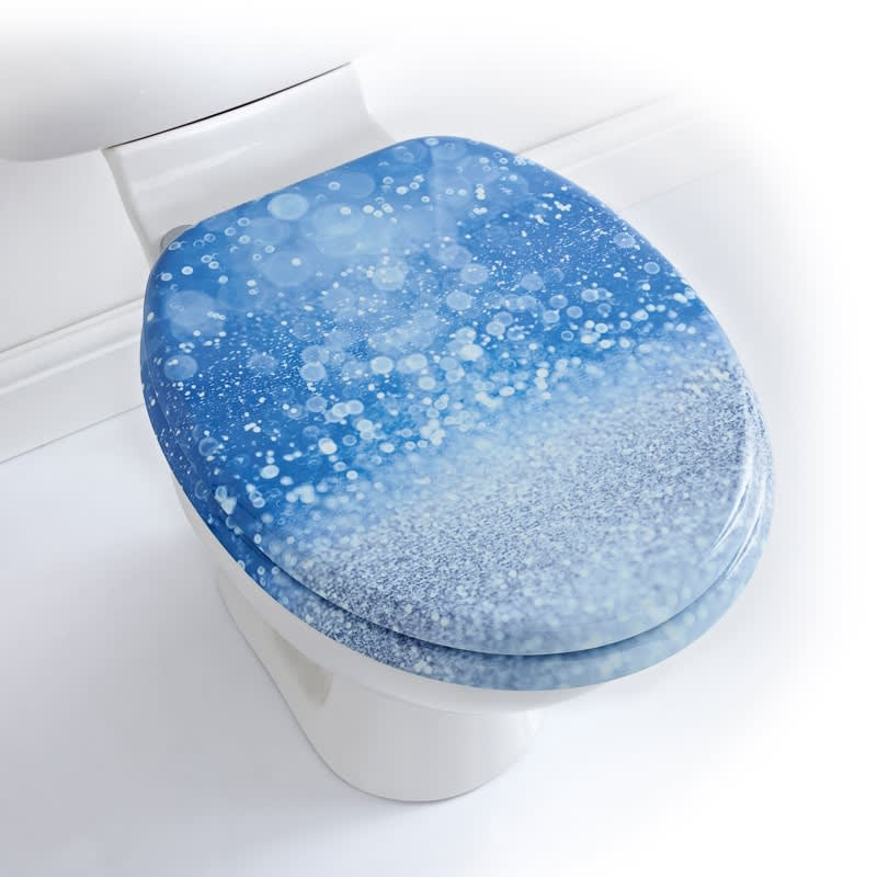 Printed Toilet Seat Blue Glitter Bathroom Accessories