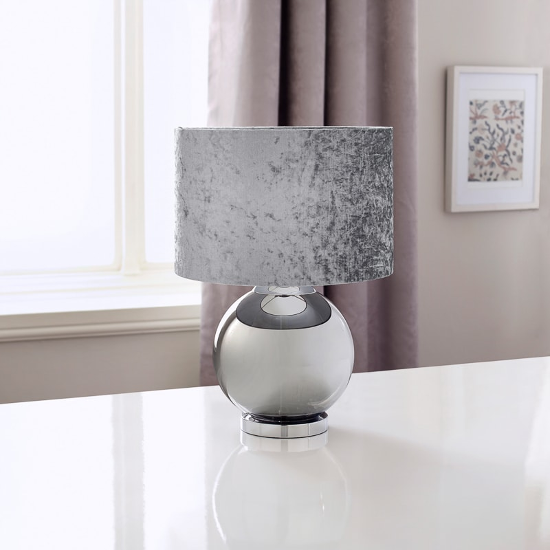 glass ball table lamp with velvet look shade silver. Black Bedroom Furniture Sets. Home Design Ideas