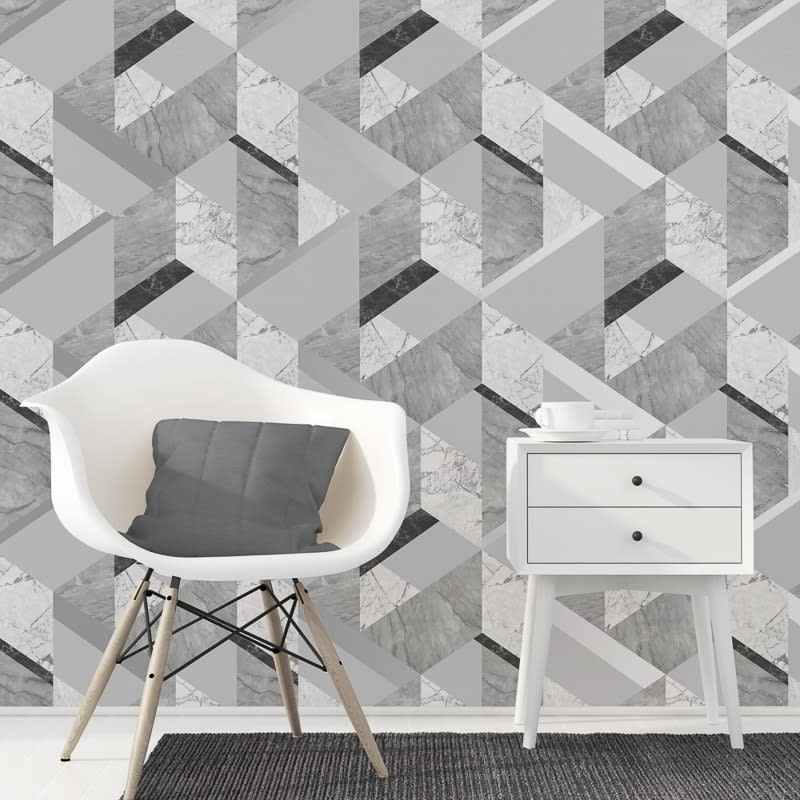 Fine Decor Marblesque Geometric Wallpaper Grey Decorating B M