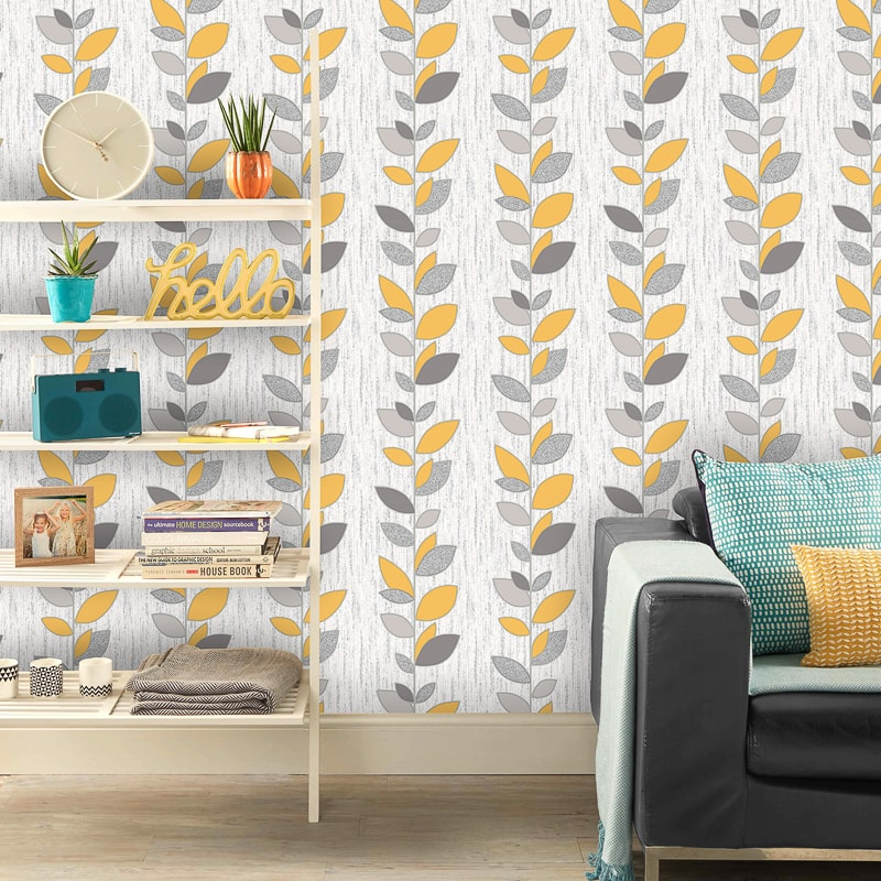 Fine Decor Synergy Yellow Leaf Wallpaper