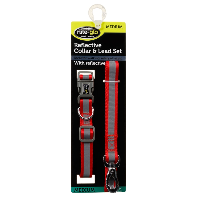 Reflective Collar  U0026 Lead Set - Red