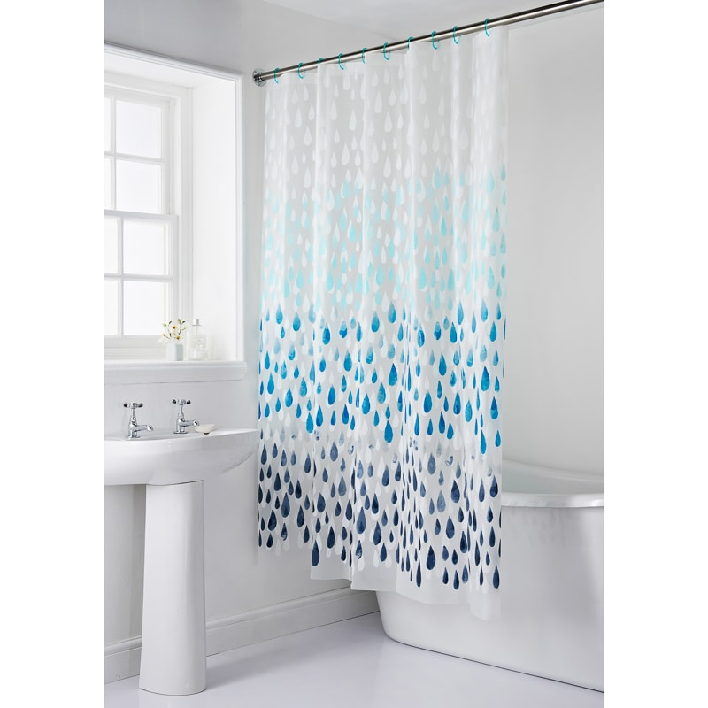 339221 Bath Mat And Shower Curtain Droplet