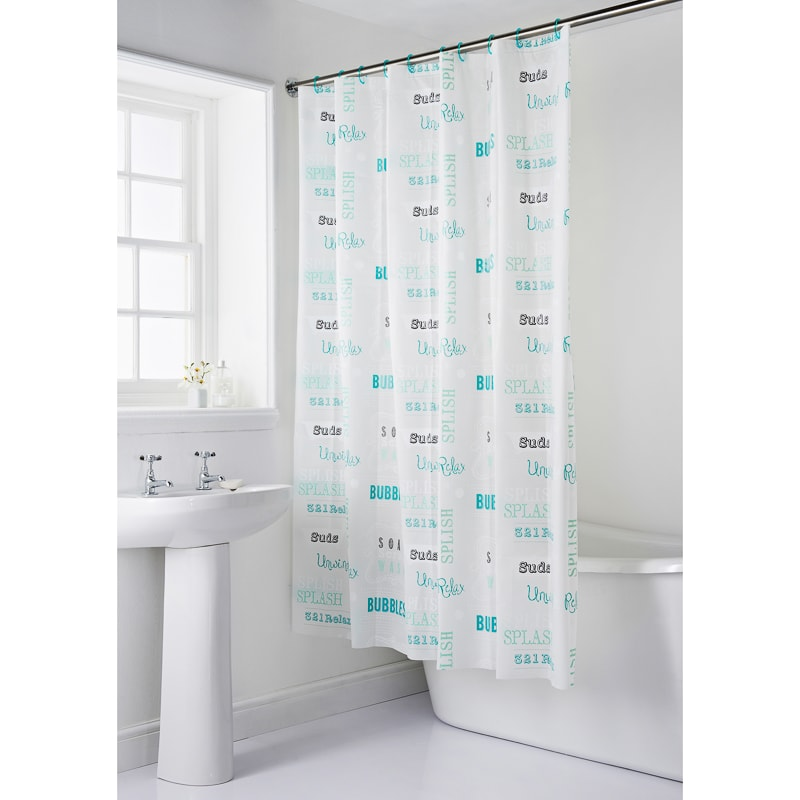 339221 Bath Mat And Shower Curtain Slogan