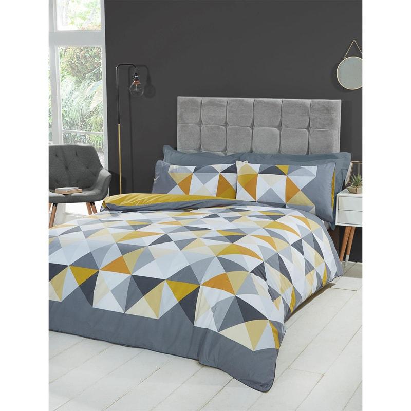 Geo Ochre Double Duvet Set Home Bedding B Amp M