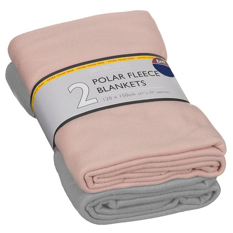Polar Fleece Blankets 2pk Grey Amp Blush Throws B Amp M