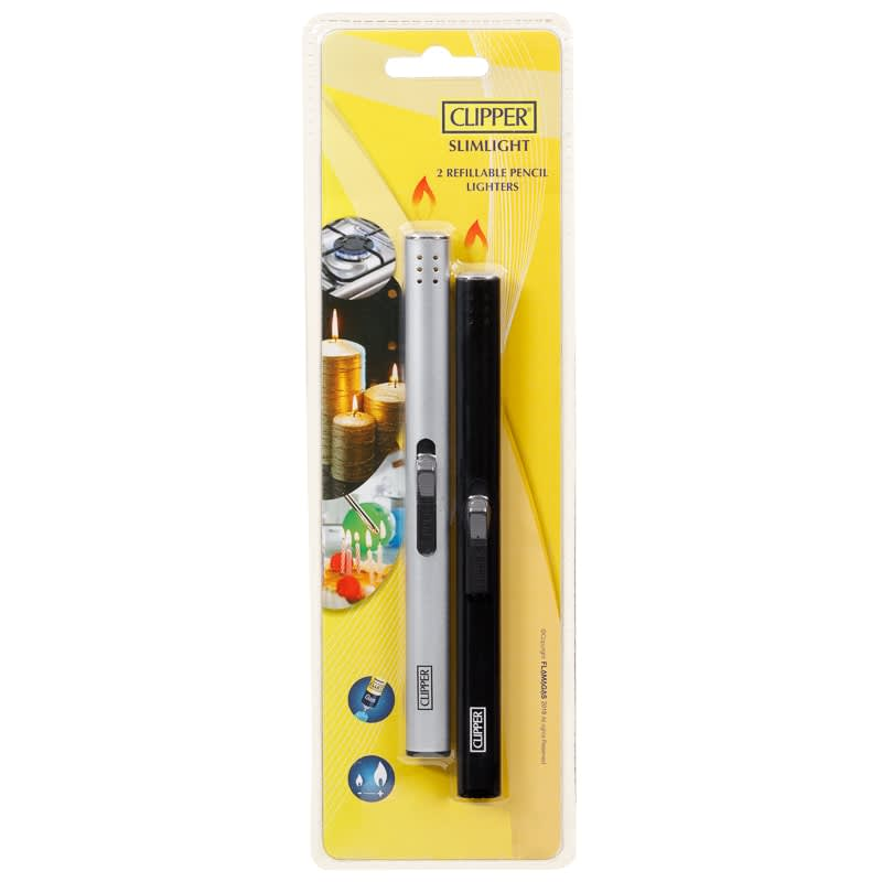 Clipper Slimlight Refillable Pencil Lighters 2pk