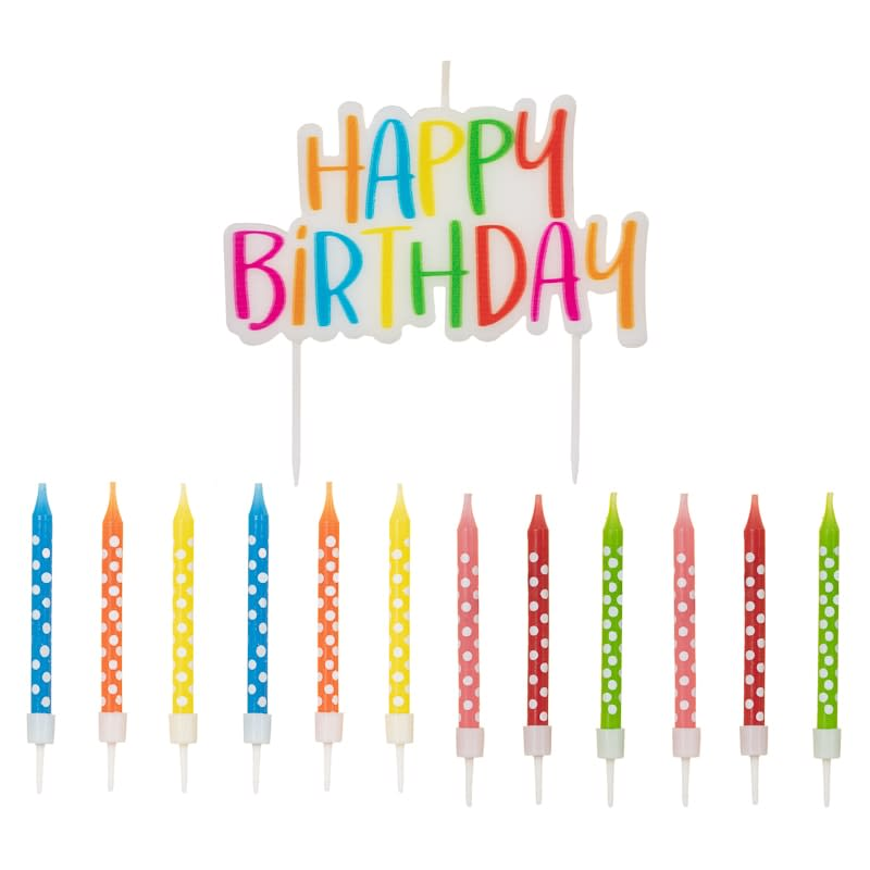 340127 Happy Birthday Candle And 12 Candles Multicolour