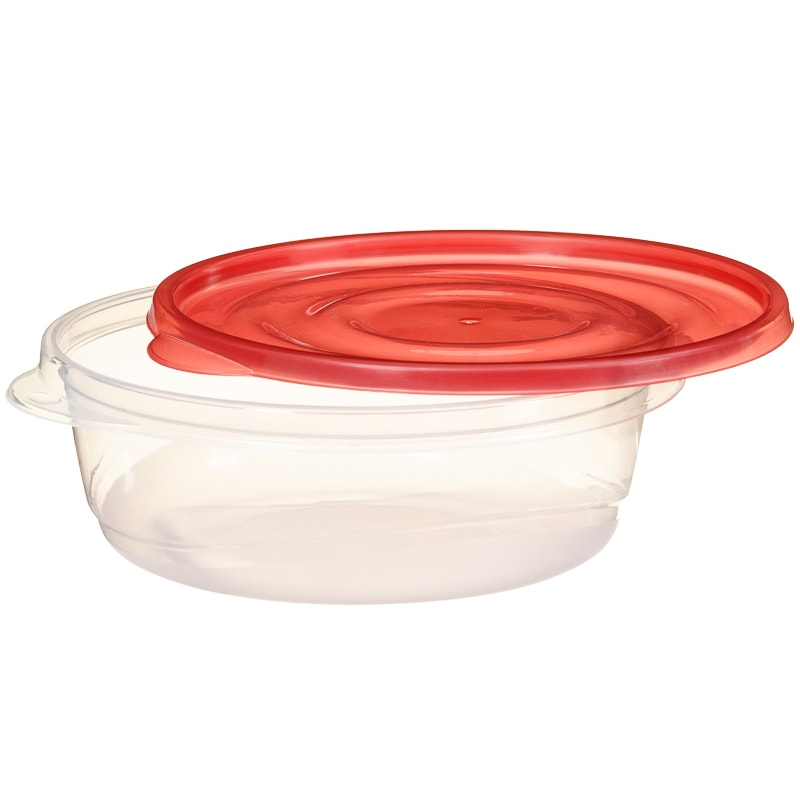 Plastic Round Food Containers 4pk - Red