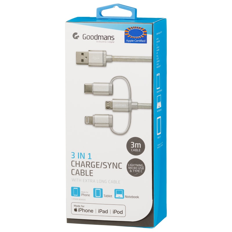 Goodmans 3-in-1 Charging & Sync Cable - Silver