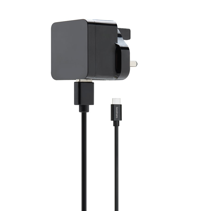 Goodmans Type C Mains Charger & Cable - Black