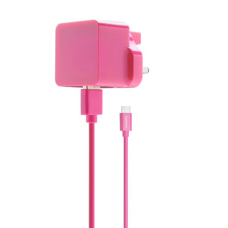 Goodmans Type C Mains Charger & Cable - Pink