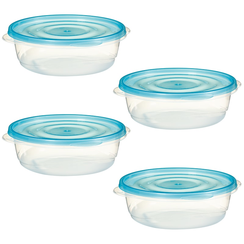 Plastic Round Food Containers 4pk Blue Kitchen B Amp M