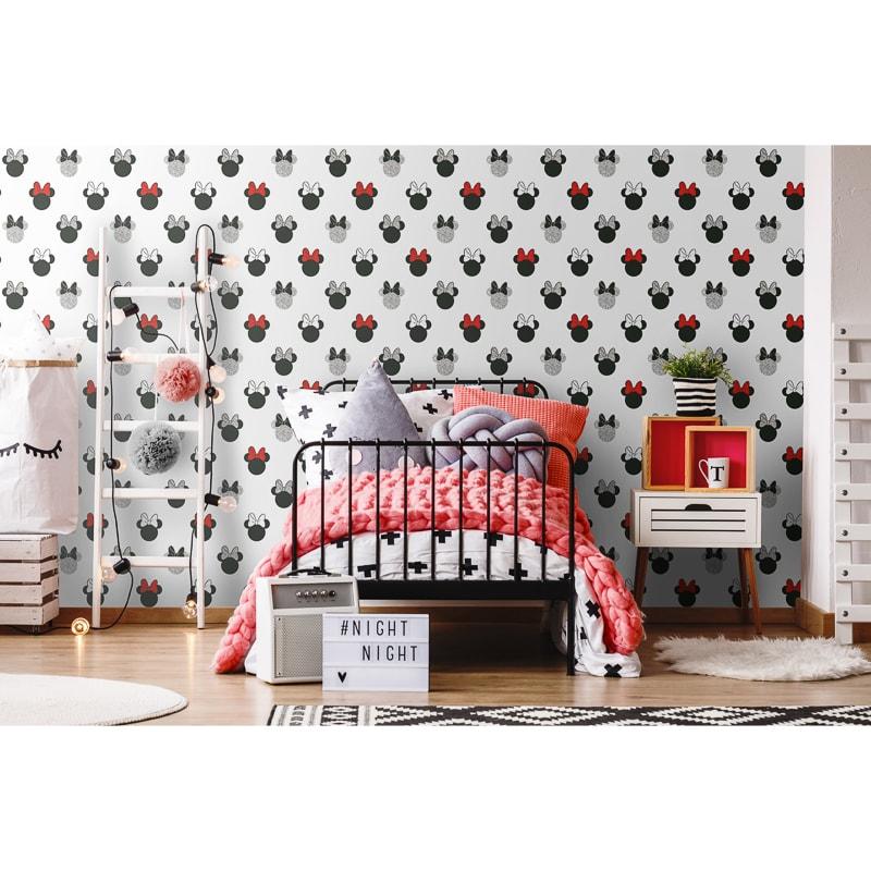 Minnie Sparkle Wallpaper - Black & Red
