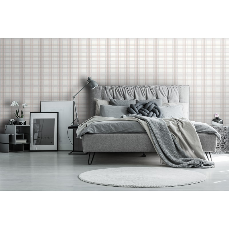 Country Tartan Wallpaper - Blush