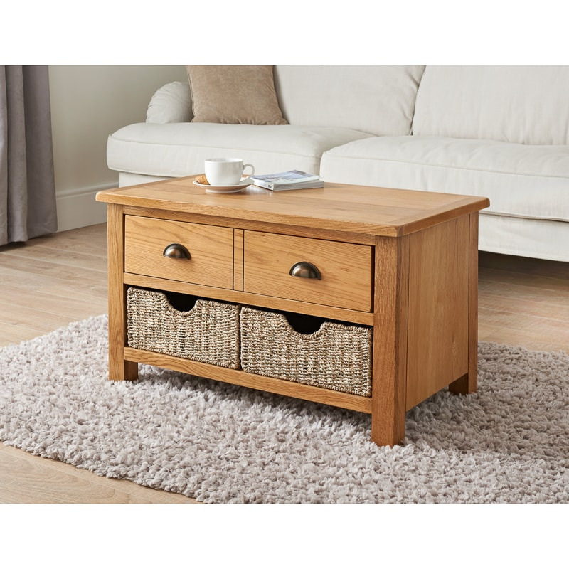 Wiltshire Oak Coffee Table With Storage Baskets Furniture Bm
