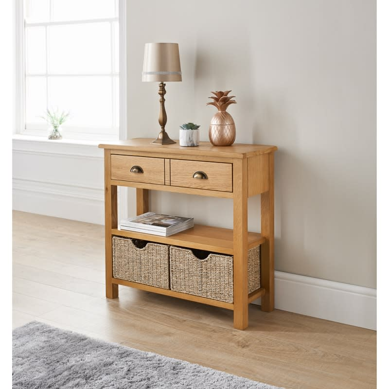 341191 Wiltshire Oak Console Table With 2 Storage