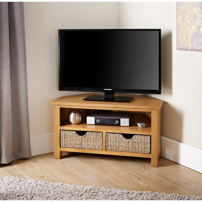 Wiltshire Oak TV Cabinet With Storage Baskets