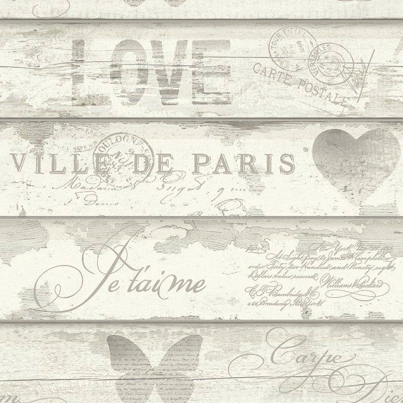 Shabby Chic Wood Wallpaper Neutral