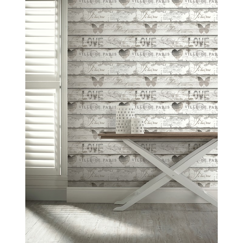 Shabby Chic Wood Wallpaper Neutral Diy B Amp M
