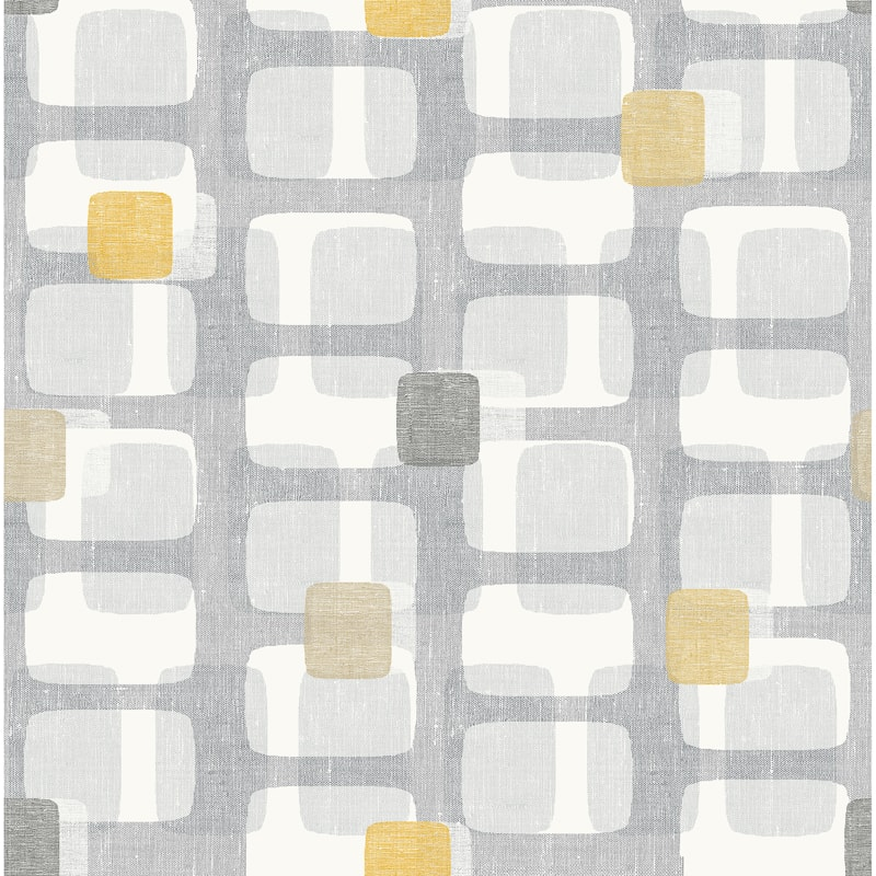 Retro Block Wallpaper - Grey & Ochre