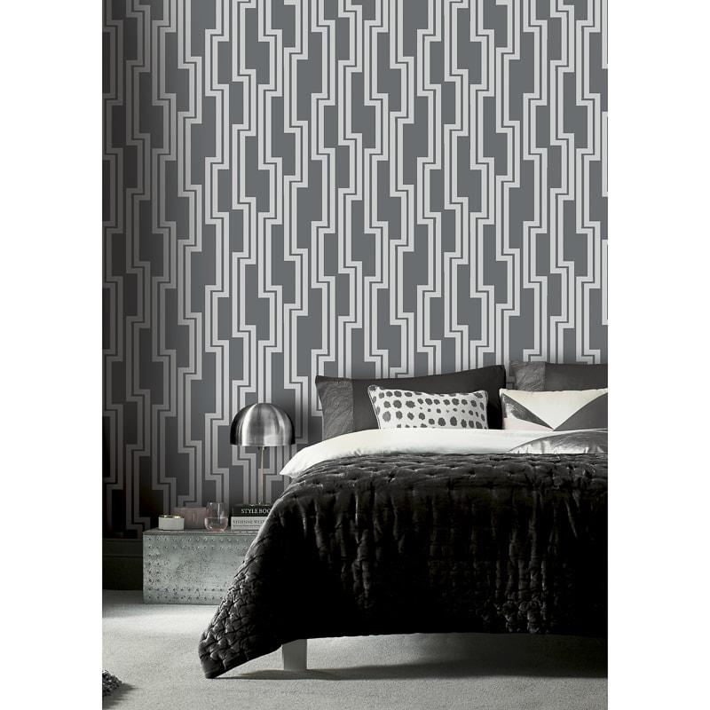 341277 Arthouse Parallel Black Silver Wallpaper