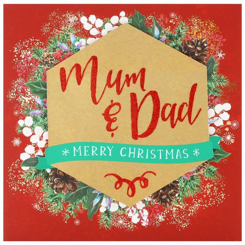 Mum & Dad Wreath - Christmas Card   Greeting Cards - B&M