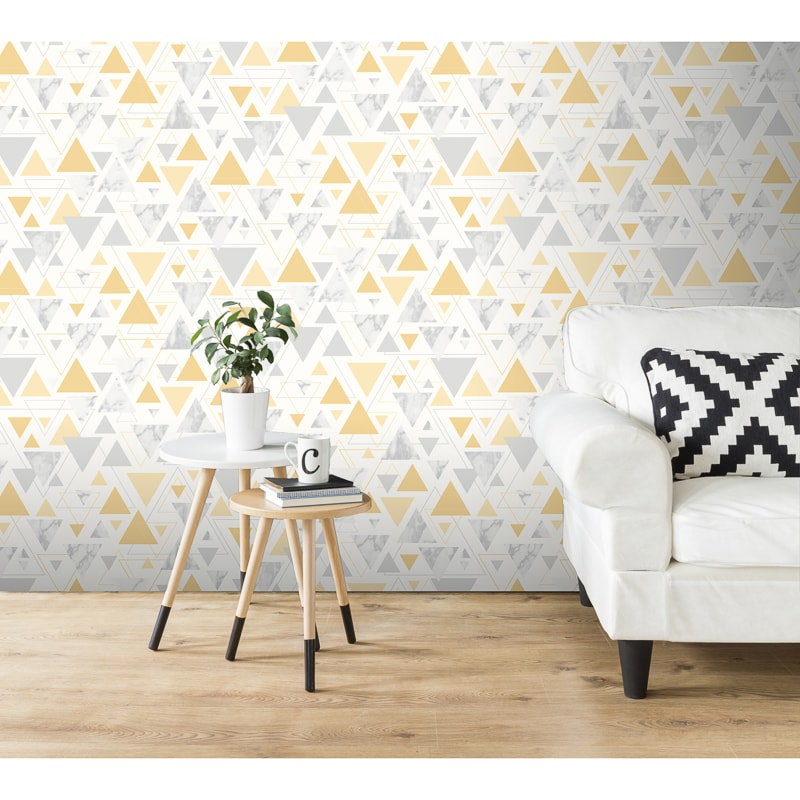 Pleasing Chantilly Wallpaper Yellow Grey Interior Design Ideas Gentotryabchikinfo