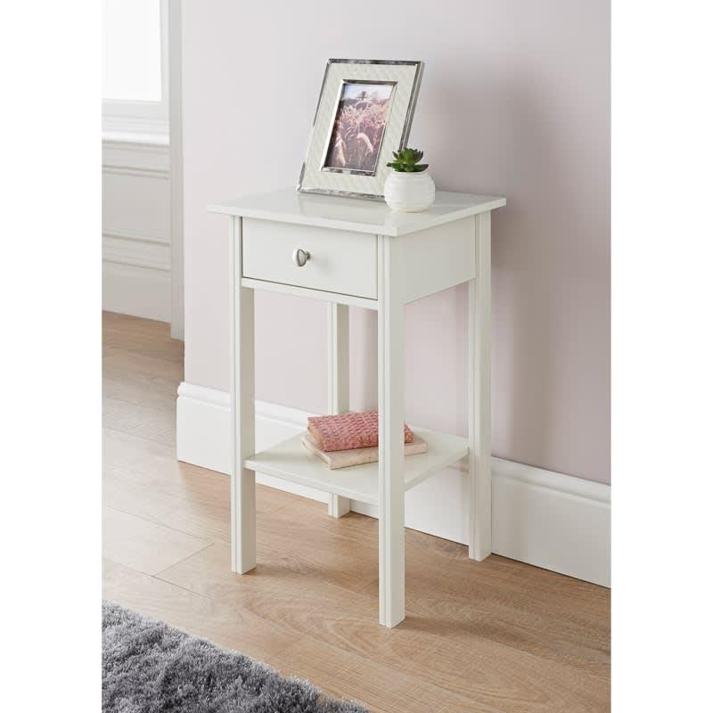 Moden 1 Drawer Bedside Table Blush Bedroom Furniture B M