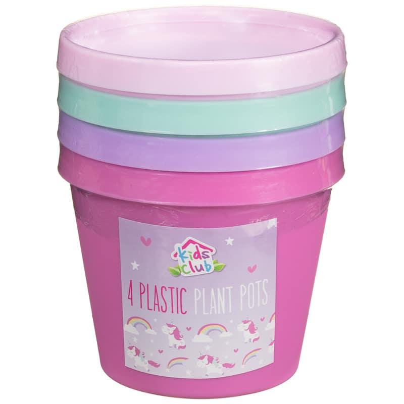 Pink Garden Planters: Kids Plastic Plant Pots 4pk - Pink