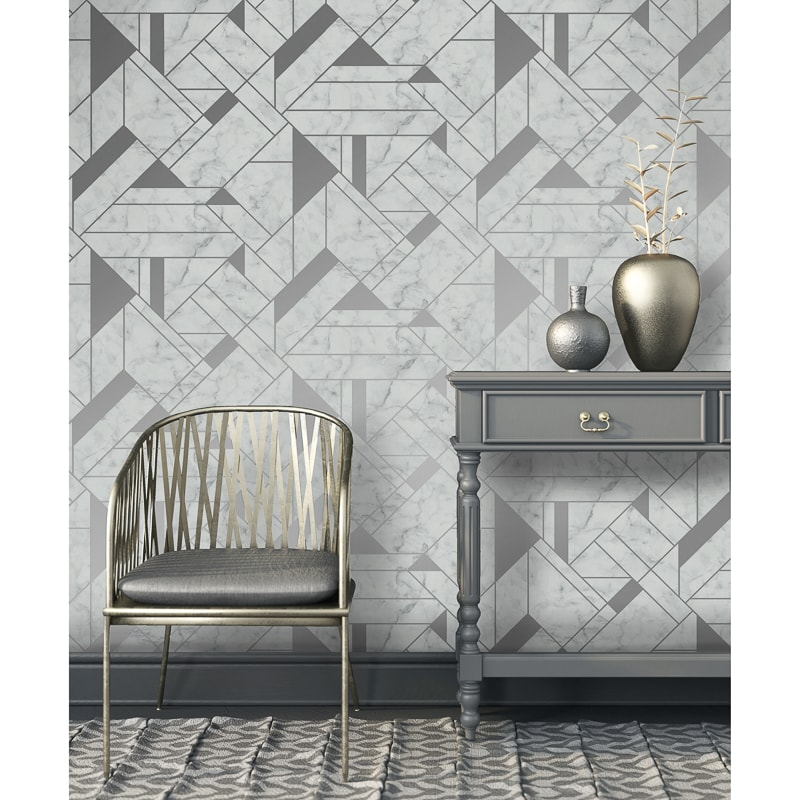 Islington Wallpaper Silver Grey Diy B Amp M