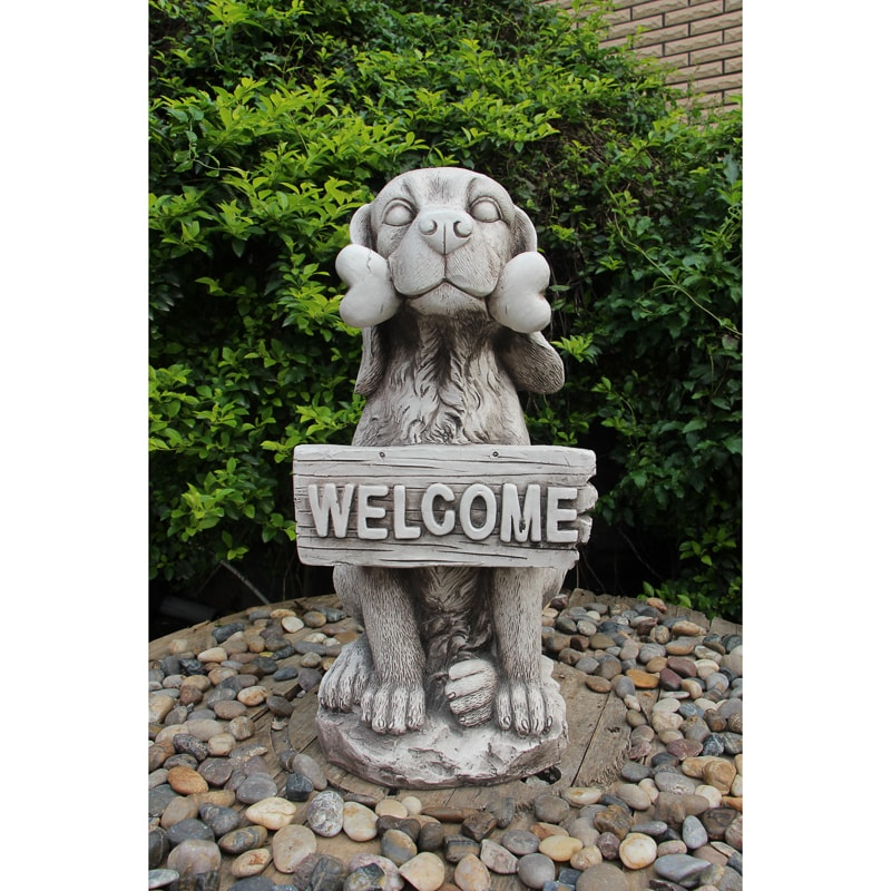 Welcome Dog Garden Statue | Garden Ornaments - B&M