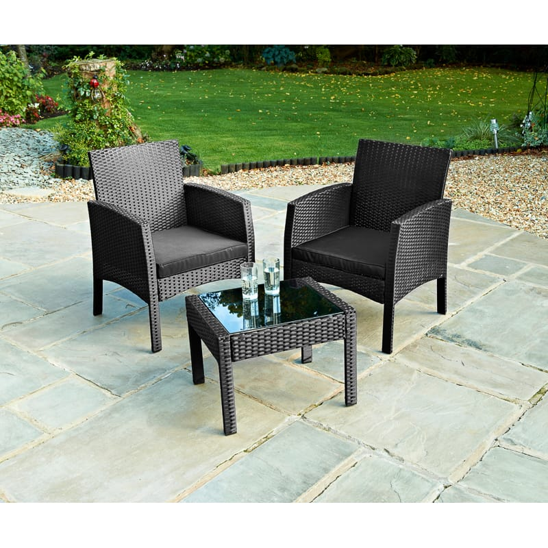 Bali Rattan Armchair Bistro Set 3pc Garden Furniture B M