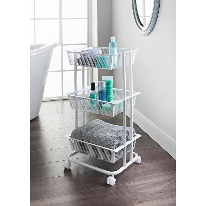 Outdoor Car Storage >> Spaceways 3 Tier Storage Trolley - White | Storage ...