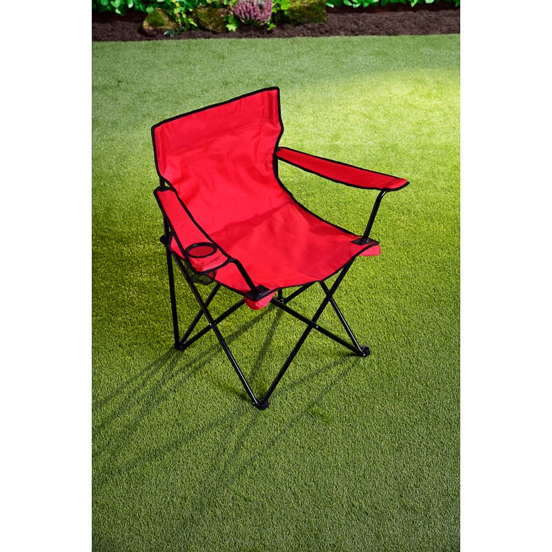 Folding Camping Chair With Cup Holder Red Camping B Amp M