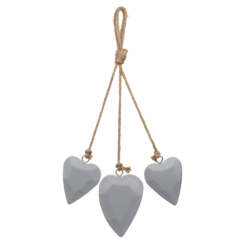 Decorative Wooden Hearts - Grey