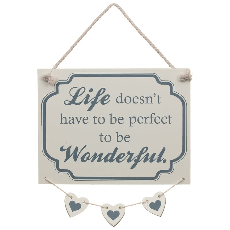 Hanging Hearts Plaque - Wonderful