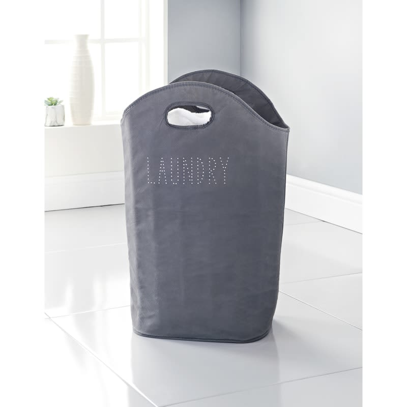 Padded Diamante Laundry Bag - Grey