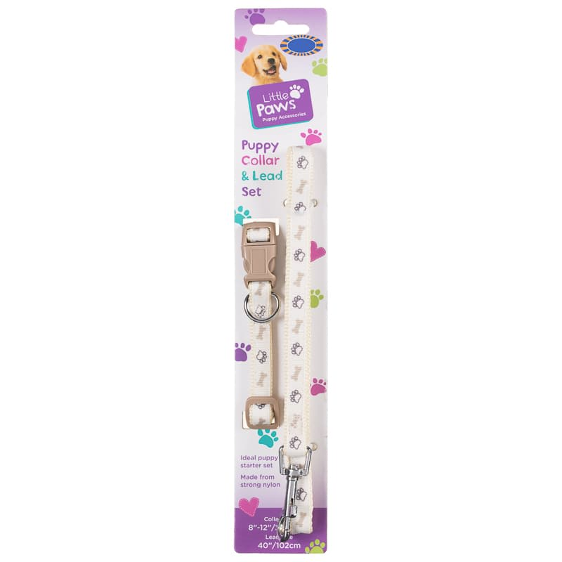 Puppy Collar & Lead Set - Beige