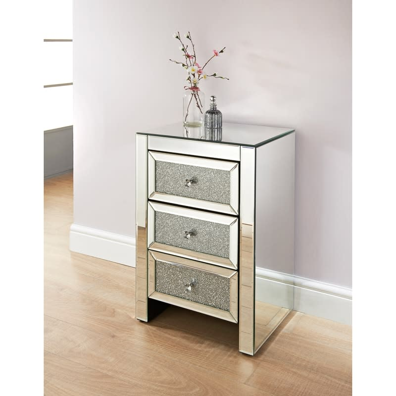 Ariana Mirrored 3 Drawer Bedside Table Bedroom Furniture