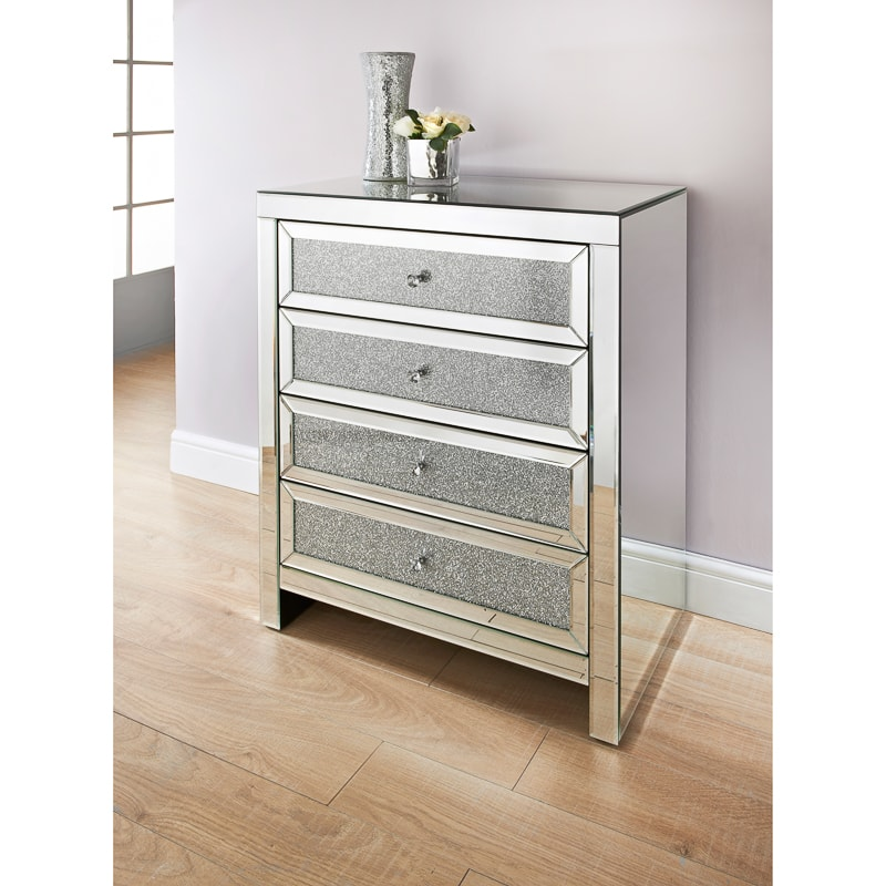 Ariana Mirrored 4 Drawer Chest Bedroom Furniture Bm
