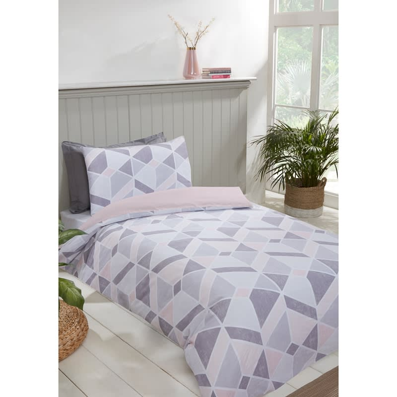 Geo Single Duvet Twin Pack - Blush