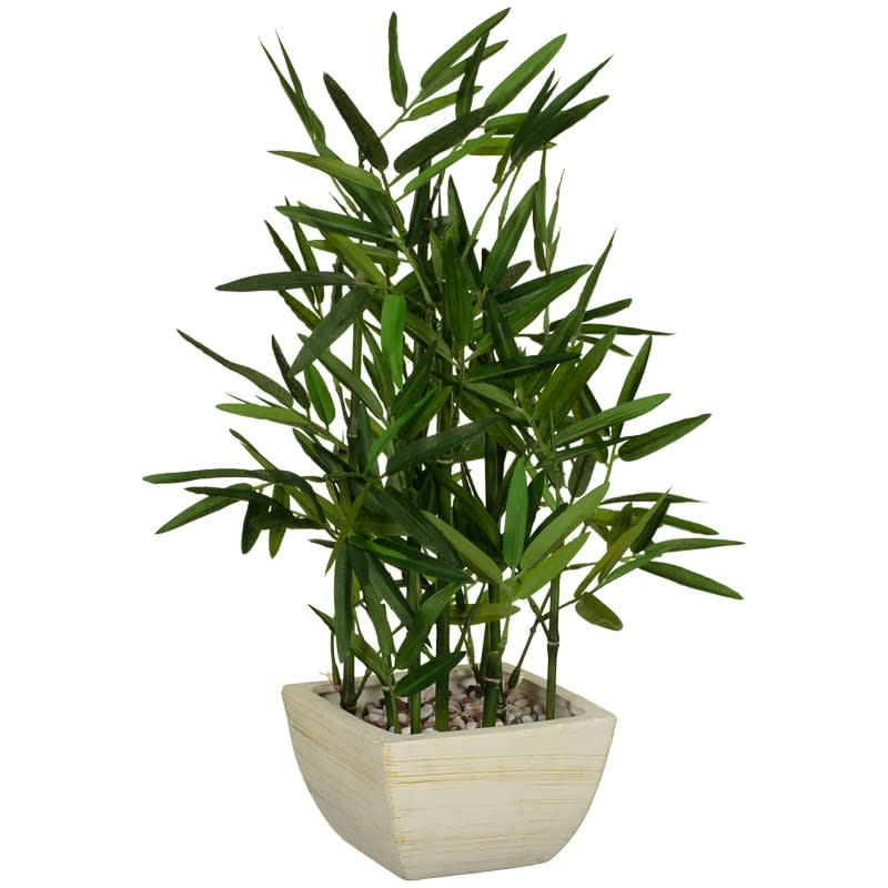 Artificial Bamboo Plant in White Pot