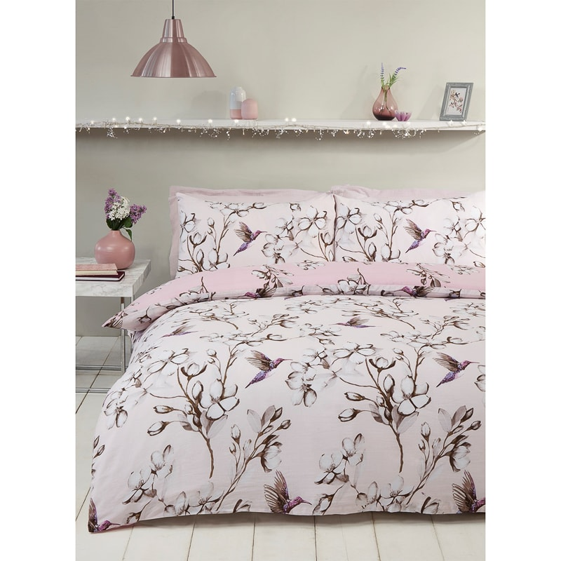 Hummingbird King Duvet Set - Blush