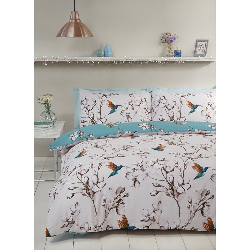 B&M bedding Hummingbird Double Duvet Set - Teal