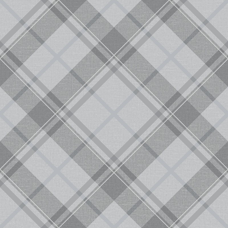 Turner & Gray Diamond Plaid Wallpaper - Silver/Grey