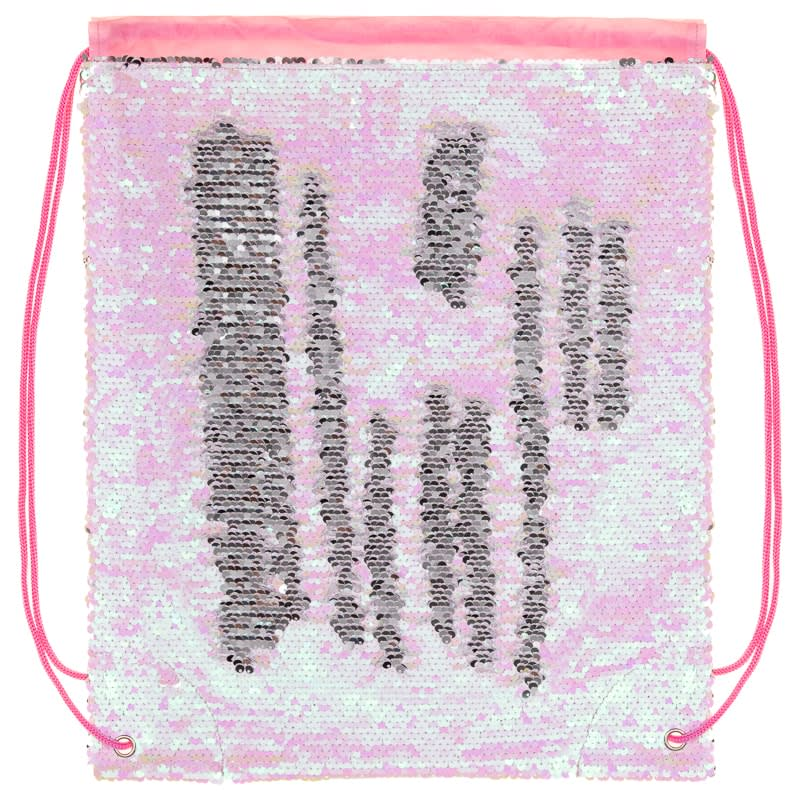 Reversible Sequin Drawstring Bag - Pink